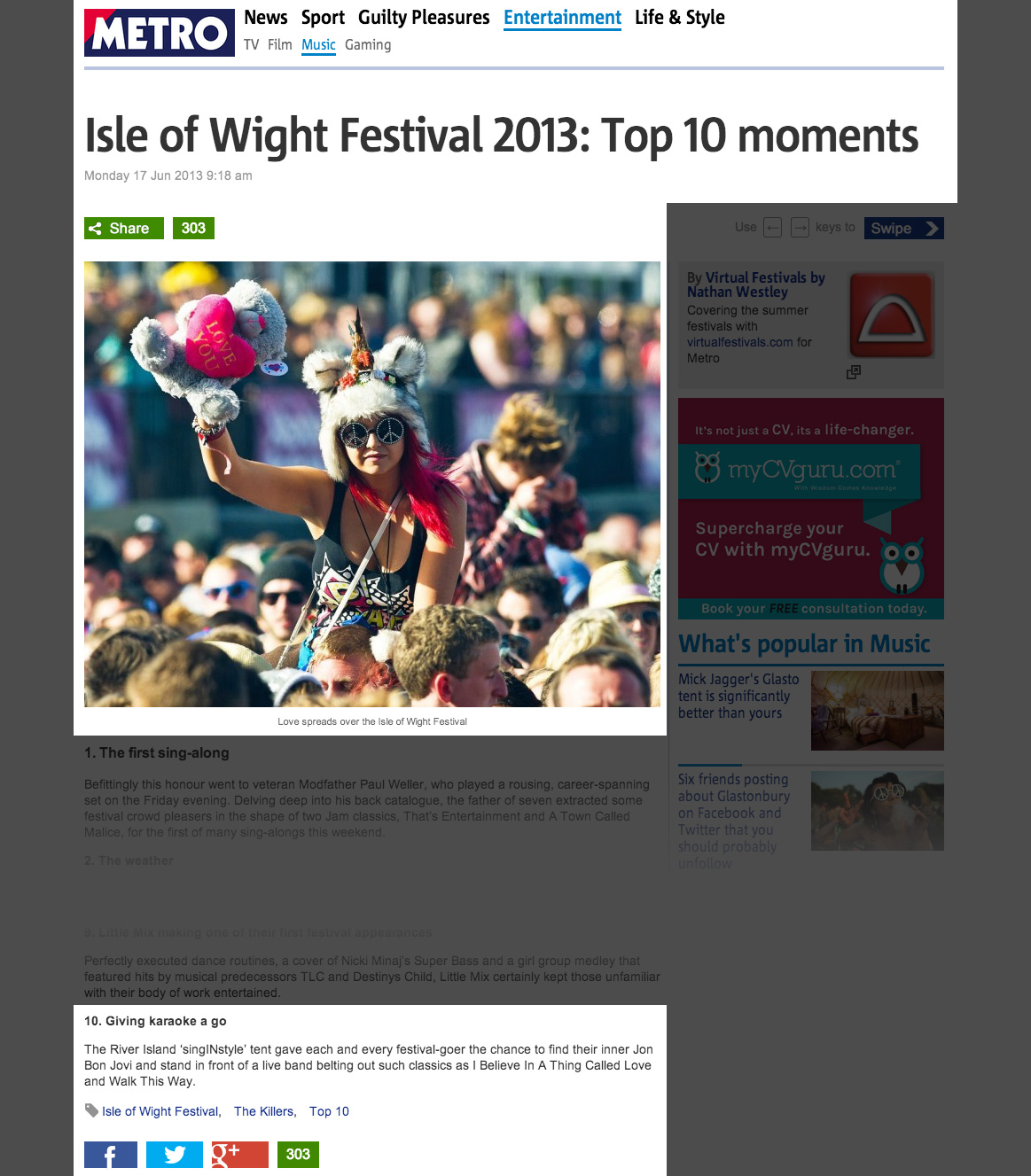 Metro lists Live Karaoke Band in Top Ten Moments at Isle of Wight